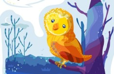 Cute Cartoon Owl Illustration Vector