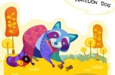 Cute Cartoon Raccoon Dog Illustration Vector