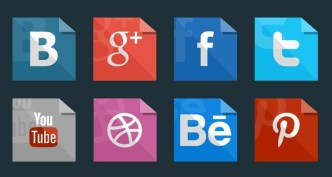 Paper Like Flat Social Media Icons PSD