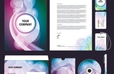 Floral Corporate Identity Design Mockup Vector