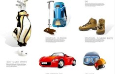 Set Of Vector Outdoor Sports Equipment Icons