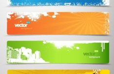 Set Of Vector Retro Banners with Bright Color Backgrounds