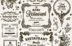 Vintage Restaurant Menu Floral Frames Vector