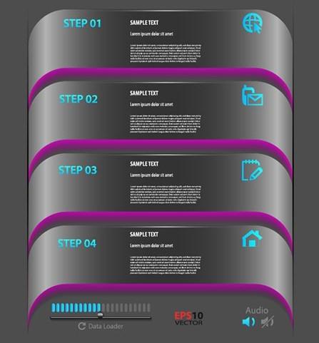 Dark Step By Step Infographic Design Elements Vector