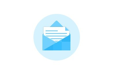 Flat Blue Mail Icon PSD