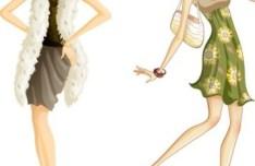 City Modern Girls Illustration Vector 02