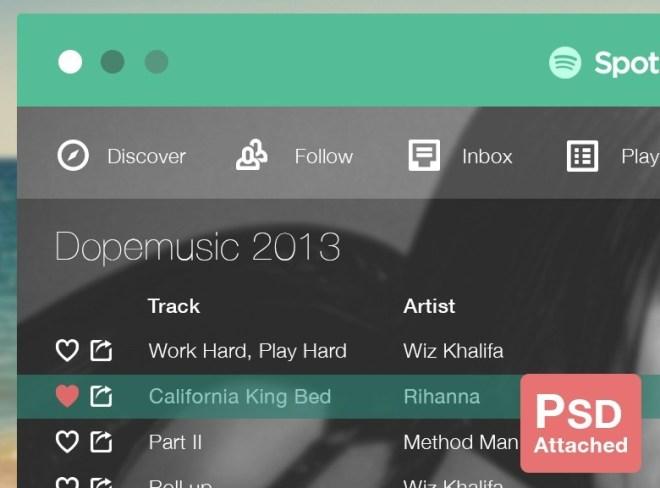 Flat Spotify App UI PSD