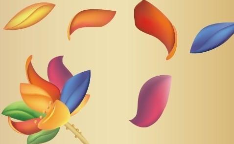 Flying Colored Lotus Petals Vector