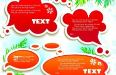 Lovely Christmas Speech Bubbles with Snowflake Backgrounds 01