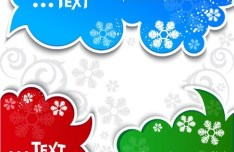 Lovely Christmas Speech Bubbles with Snowflake Backgrounds 05