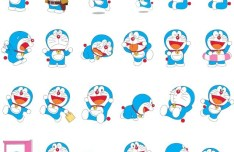 Set Of Vector Cartoon Doraemon Icons