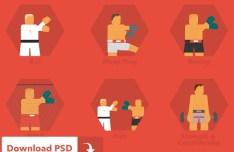 Martial Arts Icon Set PSD