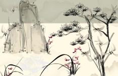 Vector Ink and Wash Landscape
