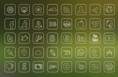 40 Minimal Outline Icons PSD