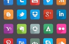45 Flat Styled Social Icons PSD