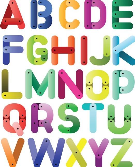Colored Cartoon English Alphabet Vector