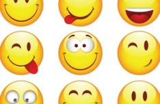 Set Of Glossy Funny Emotion Icons Vector
