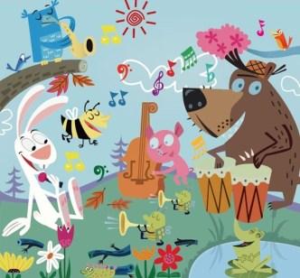Cartoon Animal Concert Vector