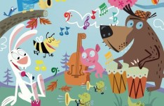Cartoon Animal Concert Vector