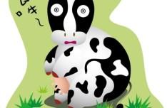 Cartoon Cute Cow Vector Illustration