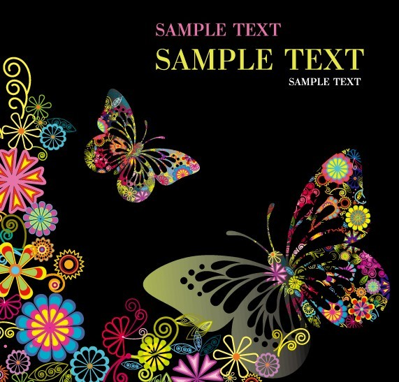 Classical Colored Butterflies and Flowers Vector 01