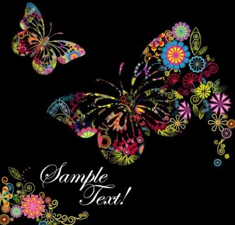 Classical Colored Butterflies and Flowers Vector 02