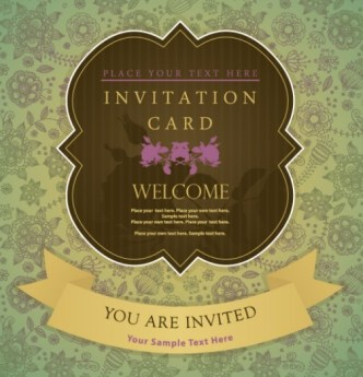 Elegant Invitation Card With Vintage Floral Background