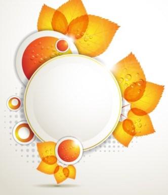 Orange Leaf and Butterfly Vector Frame 02