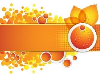 Orange Leaf and Butterfly Vector Frame 04