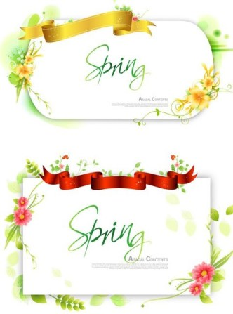 Set Of Clean Spring Vector Frames with Ribbon and Floral Ornaments 02