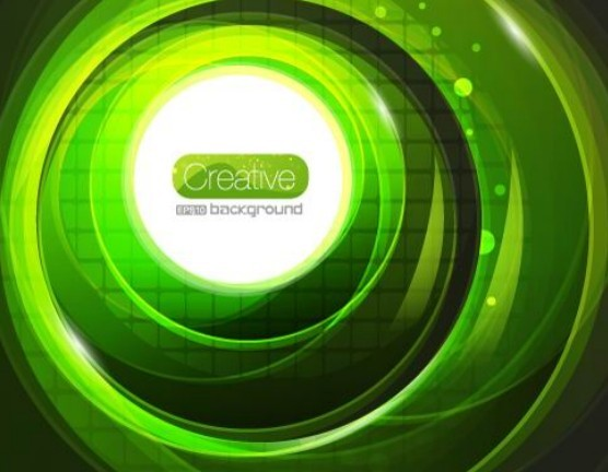 Creative Bright Green Swirls Background Vector