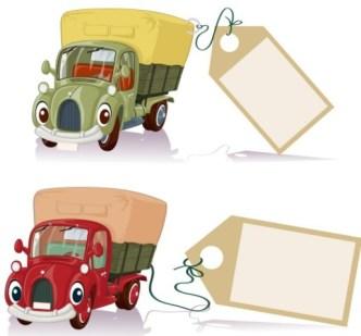 Cute Cartoon Trucks With Labels Vector 01