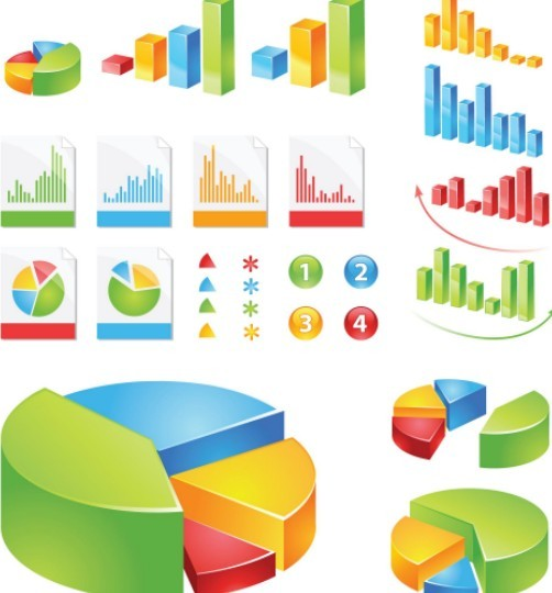 Colored Data Statistic Icons For Infographic Vector