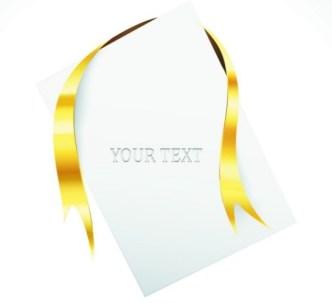 Creative Blank Card with Glossy Yellow Ribbon Vector 01