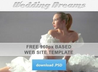 960px Based Wedding Dreams Website Template PSD
