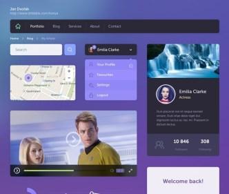 Flat Styled Purple and Dark Web UI Kit PSD