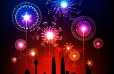 Vector Fireworks and Silhouetted City