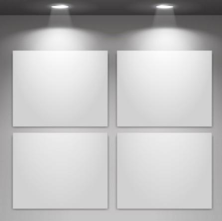Blank Showcase with Spotlight Vector Mockup 03