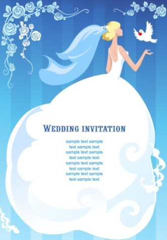 Clean Floral Bride Illustration For Wedding Invitation Vector 02