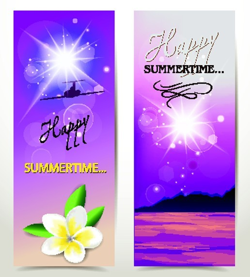 Set Of Vector Fresh Happy Summer Time Banners 03