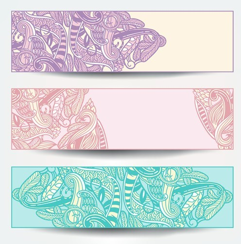 Set Of Vector Vintage Banners with Floral Pattern Backgrounds 02