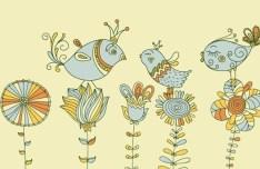 Vintage Hand Drawn Bird and Floral Illustration Vector 06