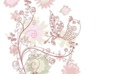 Vintage Hand Drawn Bird and Floral Illustration Vector 07