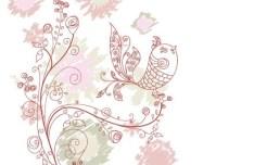 Vintage Hand Drawn Bird and Floral Illustration Vector 07