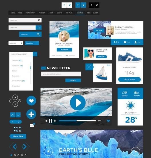 Blue and Dark Flat UI Elements PSD