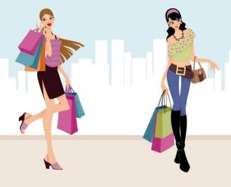City Shopping Girls Vector Illustraction