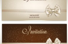 Noble Golden Cards with Ribbon Bow and Halos Ornaments Vector 03