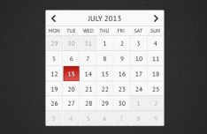 Clean Grey Calendar UI PSD