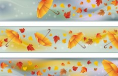 Set Of Vector Autumn Leaf Banners 01
