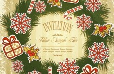 Vintage Merry Christmas Invitation Card Ornaments Vector 01